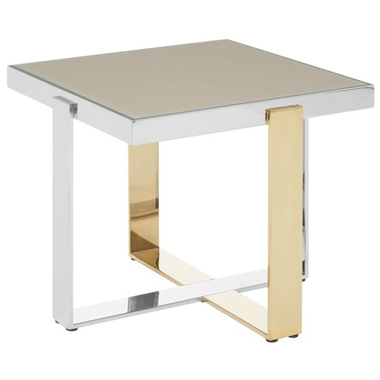 Demas Glass End Table With Gold And Silver Base