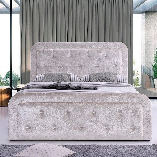 Denning Crushed Velvet Ottoman Storage Double Bed In Cream
