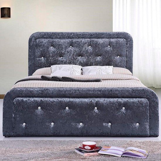Denning Crushed Velvet Ottoman Storage Double Bed In Grey