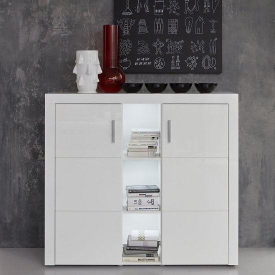 Roma Highboard In White With High Gloss Fronts And LED_3
