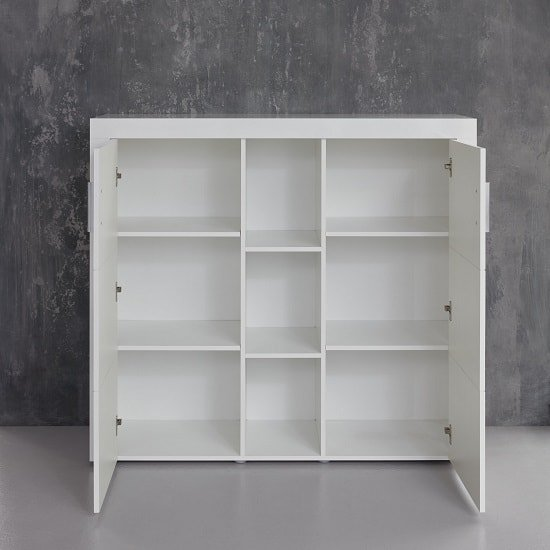 Roma Highboard In White With High Gloss Fronts And LED_2