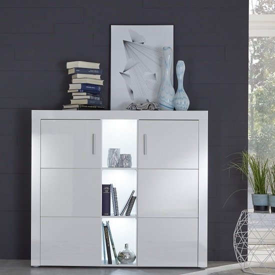 Roma Highboard In White With High Gloss Fronts And LED_1