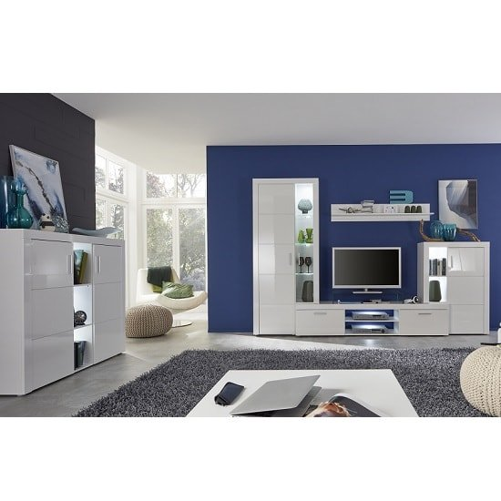 Roma Living Room Set In White With High Gloss Fronts And LED_6