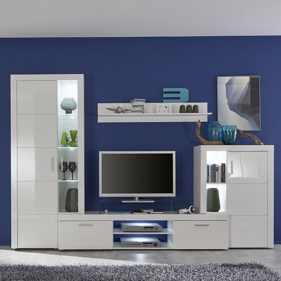 Dennis Living Room Set In White With High Gloss Fronts And LED