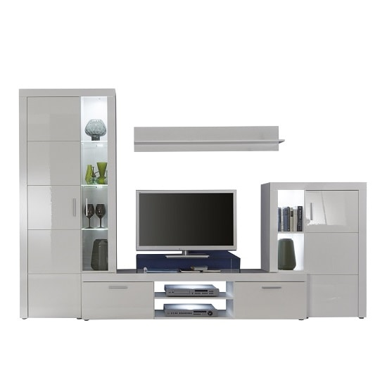 Roma Living Room Set In White With High Gloss Fronts And LED_5
