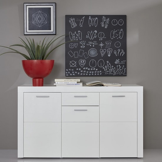 Dennis Sideboard In White With High Gloss Fronts