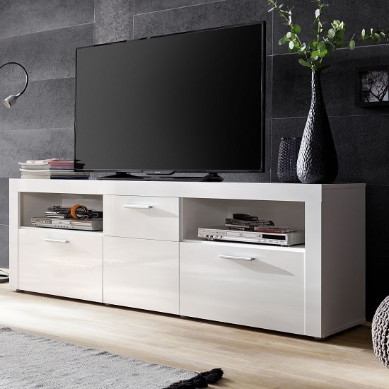 Roma Modern TV Stand In White With High Gloss Fronts_1