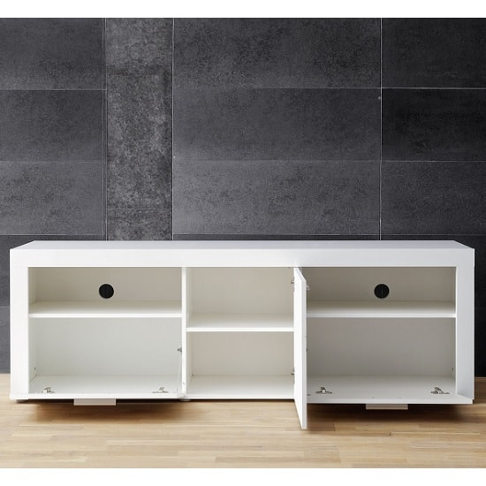 Roma Modern TV Stand In White With High Gloss Fronts_3