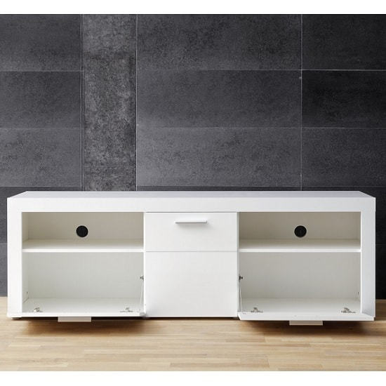 Roma Modern TV Stand In White With High Gloss Fronts_2