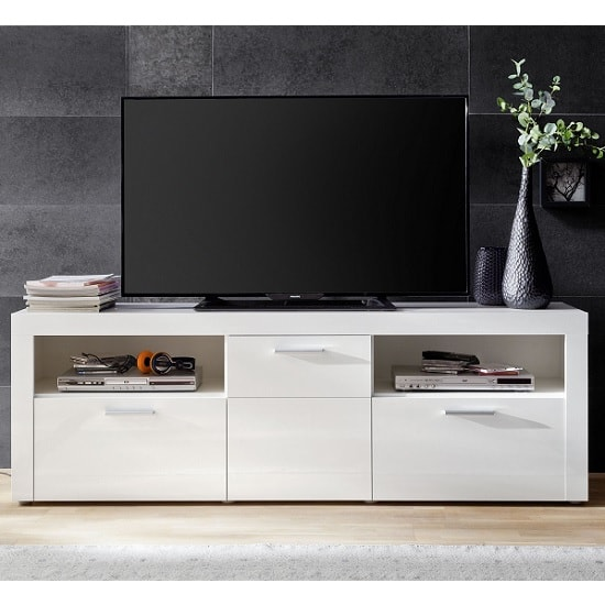 Roma Modern TV Stand In White With High Gloss Fronts_4