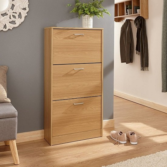 Denny Three Tier Shoe Cabinet In Oak Finish_1