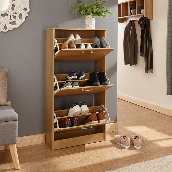 Denny Three Tier Shoe Cabinet In Oak Finish_2