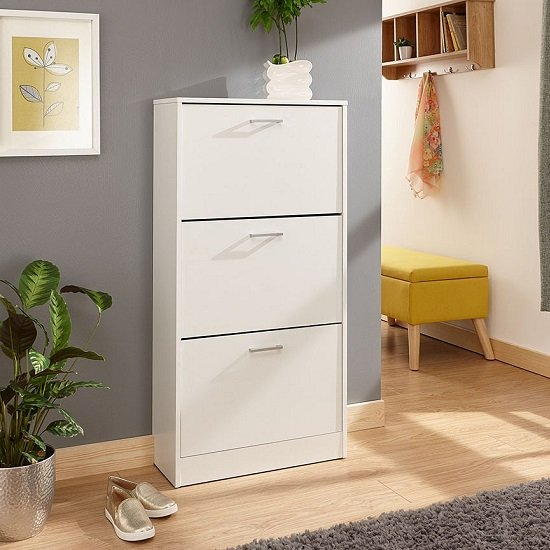 Denny Three Tier Shoe Cabinet In White Finish