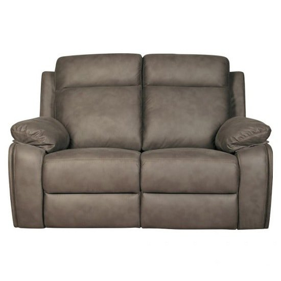 Denton Contemporary Fabric Recliner 2 Seater Sofa In Grey