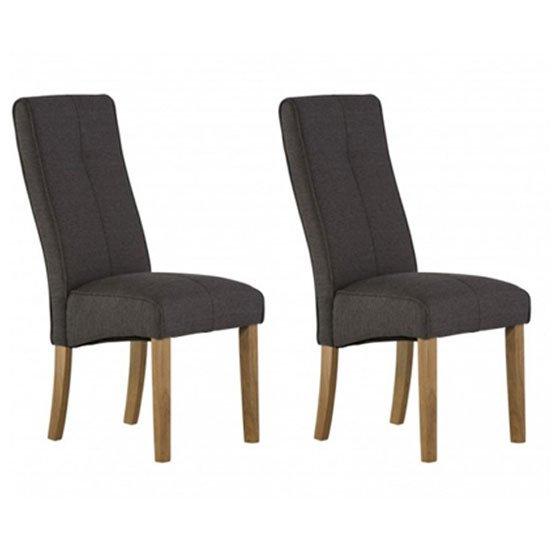 Denver Dark Grey Fabric Dining Chair In A Pair_1
