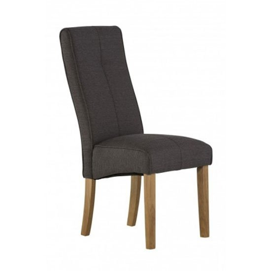 Denver Fabric Dining Chair In Dark Grey