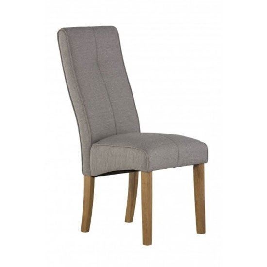 Denver Fabric Dining Chair In Silver Grey