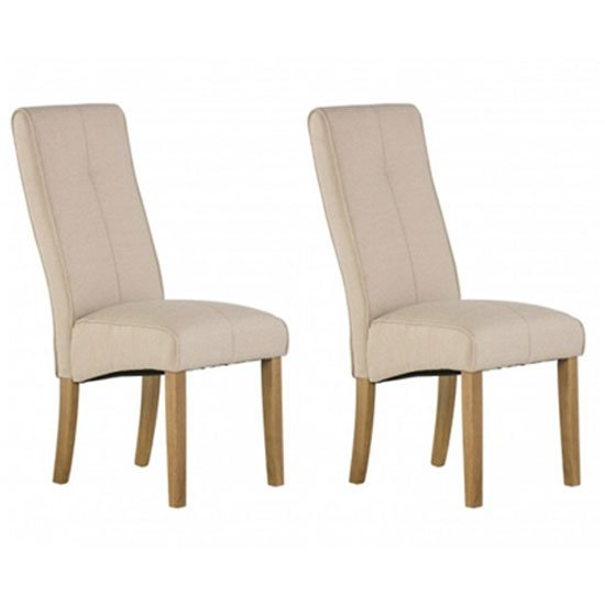 Denver Natural Fabric Dining Chair In A Pair