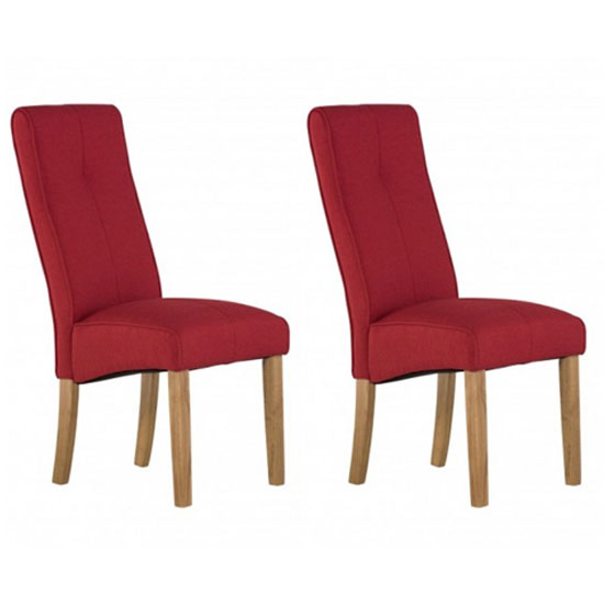 Denver Red Fabric Dining Chair In A Pair