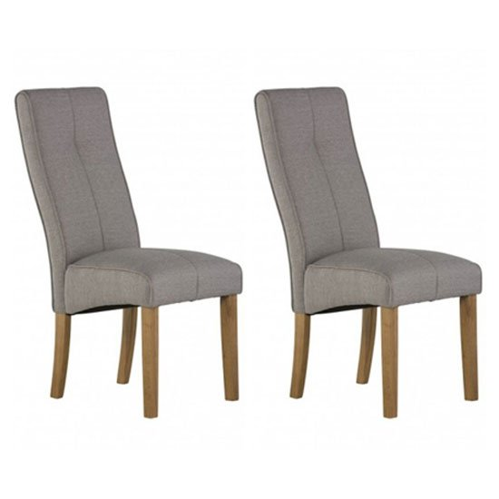 Denver Silver Grey Fabric Dining Chair In A Pair