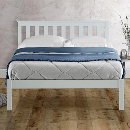 Denver Wooden Low End King Size Bed In White_2