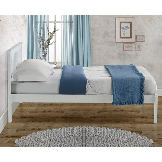 Denver Wooden Low End King Size Bed In White_3