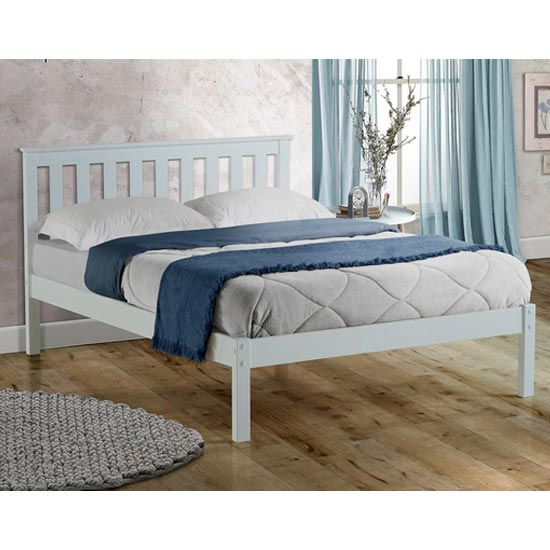 Denver Wooden Low End King Size Bed In White_1
