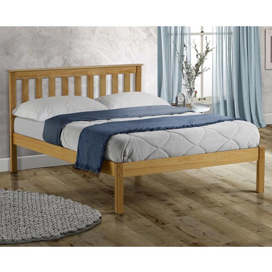 Denver Wooden Low End Double Bed In Antique Pine