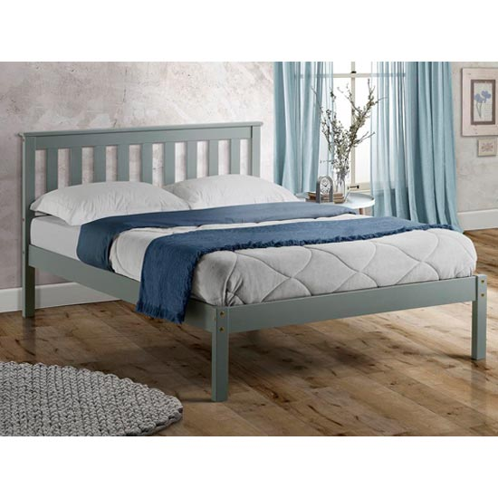 Denver Wooden Low End King Size Bed In Grey