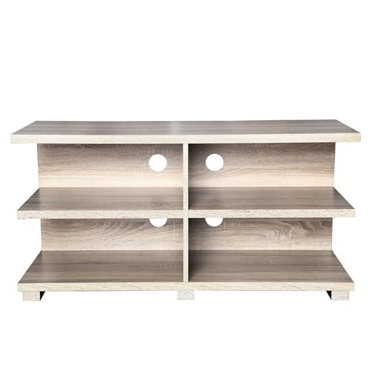 Denver Wooden TV Stand In Sonoma Oak Foil With Shelving