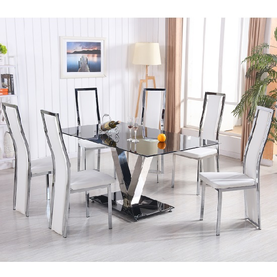Derby V Dining Table In Black Glass With 6 Collete White Chairs