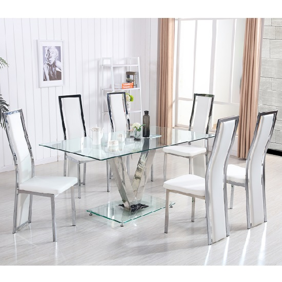 Derby V Glass Dining Table In Clear With 6 Collete White Chairs