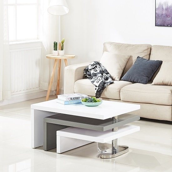 Annika White Gloss Coffee Table: Design Rotating Coffee Table In White And Grey High Gloss