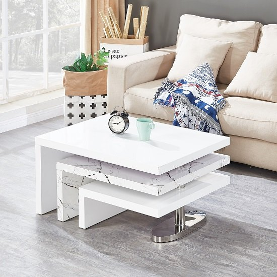 Design Rotating Coffee Table In Gloss White And Marble Finish_1