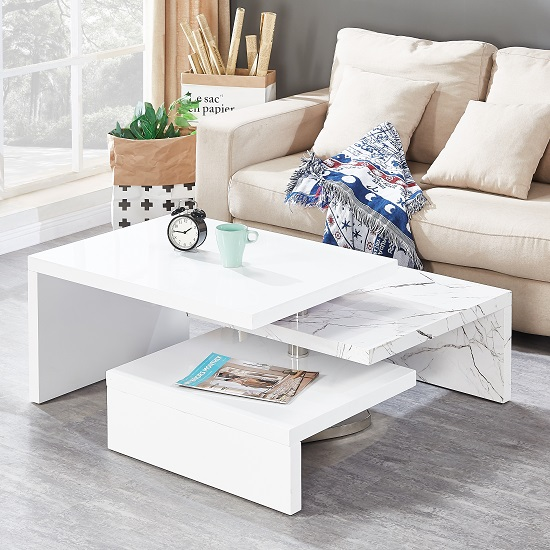 Design Rotating Coffee Table In Gloss White And Marble Finish_2