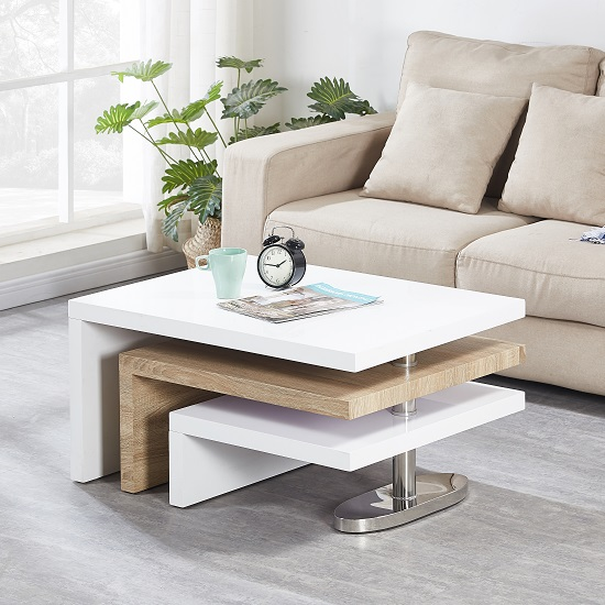 Design Coffee Table Rotating In White High Gloss With 3: Design Rotating Coffee Table In White High Gloss And Oak