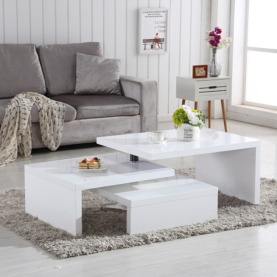 Design Coffee Table Rotating In White High Gloss With 3 Tops_2