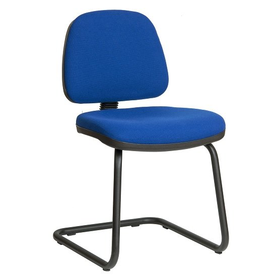Dessau Visitor Chair In Blue Fabric With Steel Frame