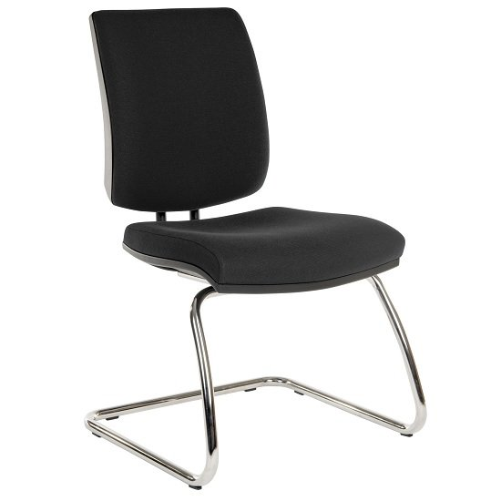Dessau Visitor Deluxe Chair In Black Fabric With Chrome Frame