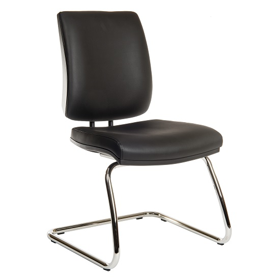 Dessau Visitor Deluxe Chair In Black PU With Chrome Frame