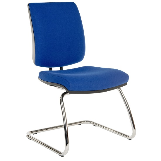 Dessau Visitor Chair In Blue Fabric With Chrome Frame