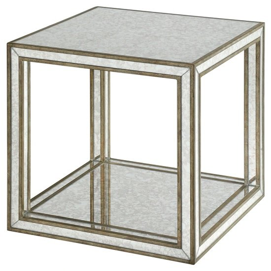 Dessert Mirrored Accent Table In Burnished Antique Gold
