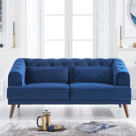 Destone Velvet Upholstered 2 Seater Sofa In Blue