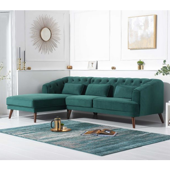 Destone Velvet Upholstered Left Handed Corner Sofa In Green