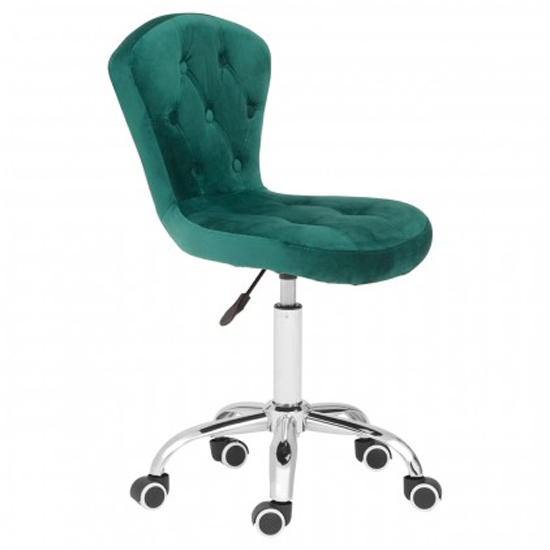 Detra Rolling Home And Office Velvet Chair In Green