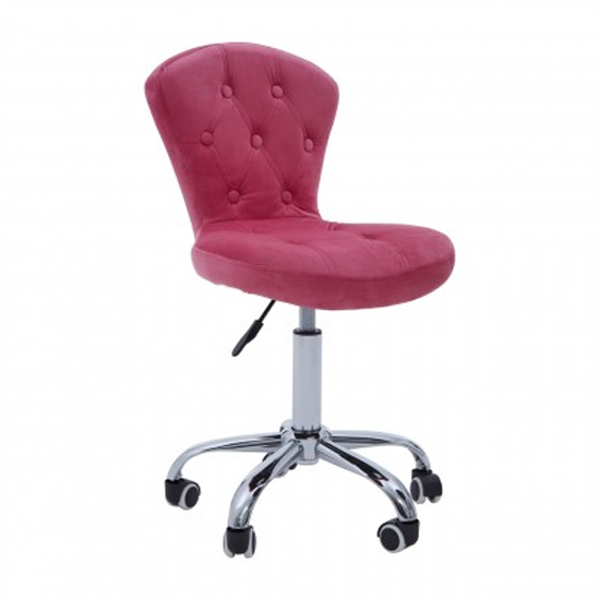 Detra Rolling Home And Office Velvet Chair In Pink