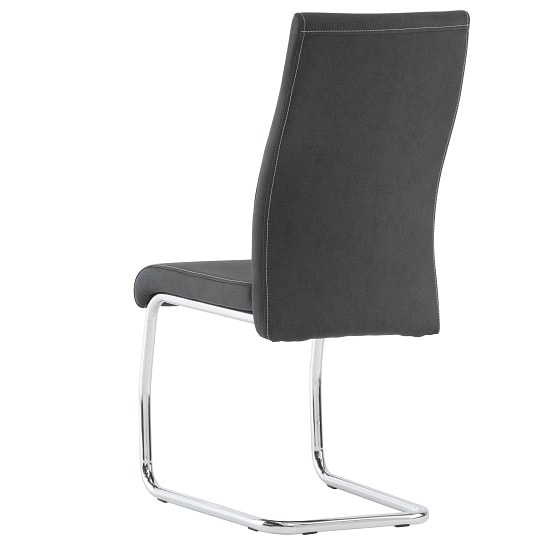 Devan Cantilever Dining Chair In Black Faux Leather In A