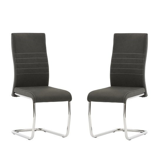 Devan Cantilever Dining Chair In Black Faux Leather In A Pair