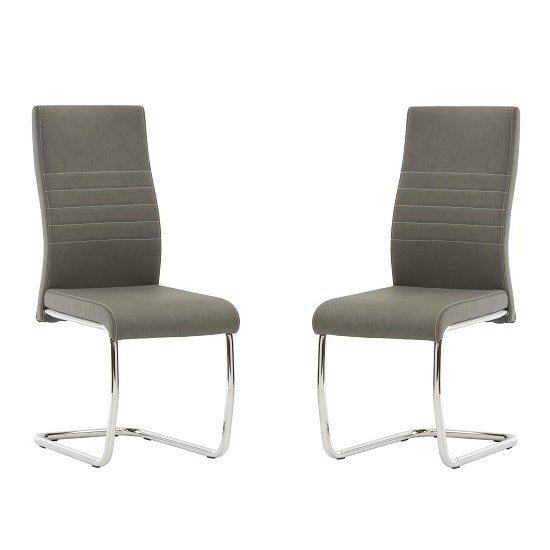 Devan Cantilever Dining Chair In Grey Faux Leather In A Pair