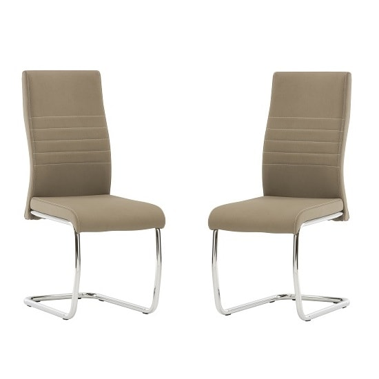 Devan Cantilever Dining Chair In Taupe Faux Leather In A Pair